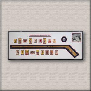Antique signed hockey stick & card framing